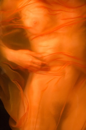 Nude Woman Beneath Orange Chiffon Sheer Organza